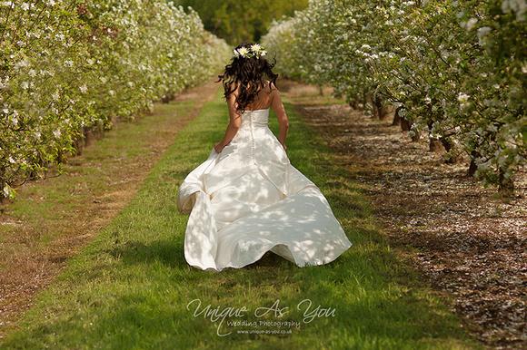 wedding photographer brecon spring orchard bride unique-as-you.co.uk